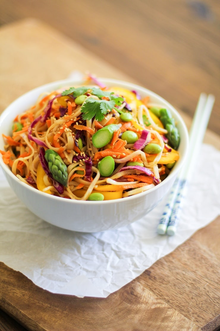 Spring Vegetable Pad Thai - vegan and gluten free | TheRoastedRoot.net #healthy #recipe #vegetarian