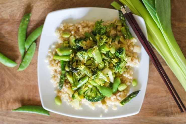 Spring Vegetable Stir Fry with Lemon-Ginger Sauce - this crisp, fresh meal takes less than 45 minutes to make and is healthy yet delicious