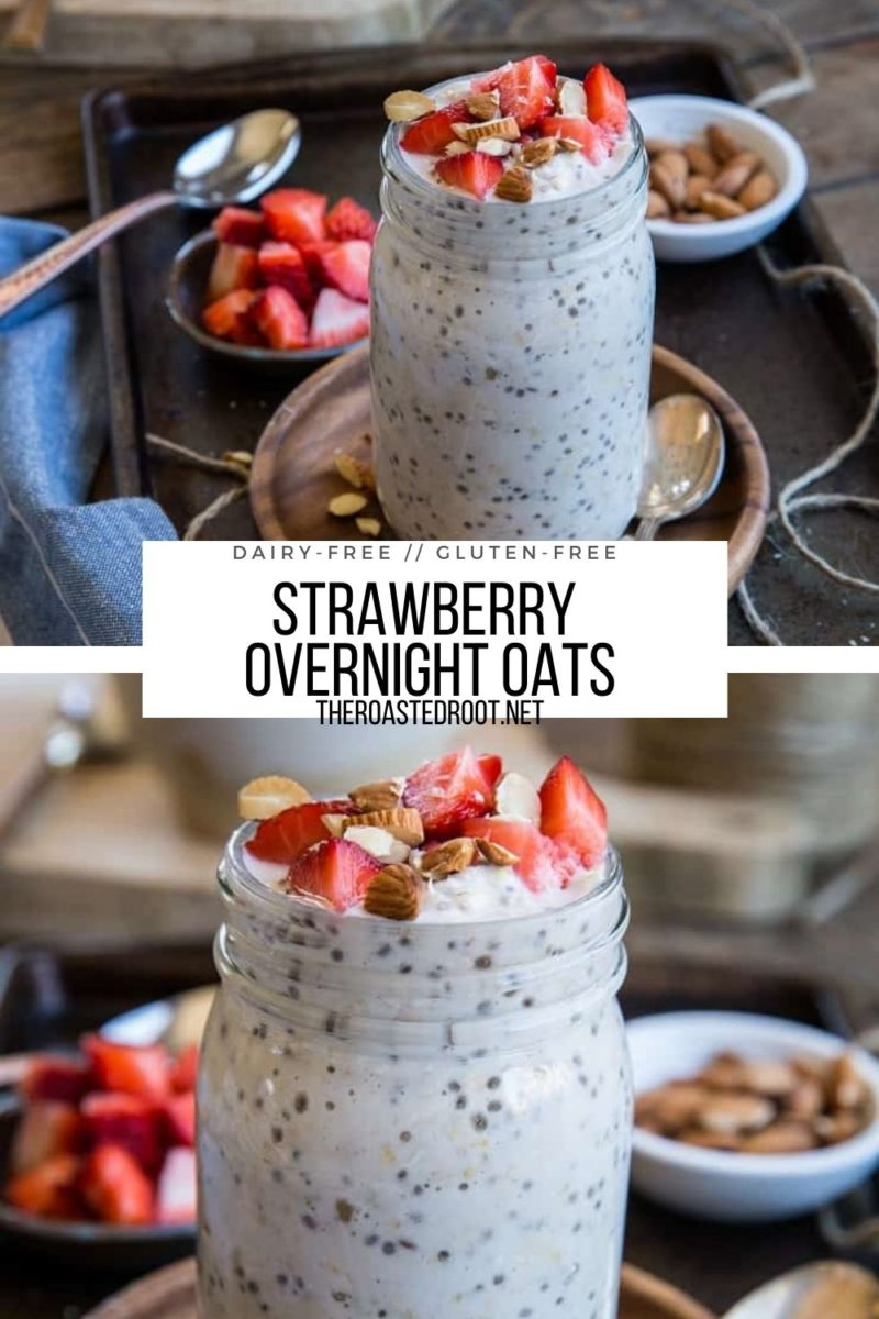 Strawberry Overnight Oats - vegan, gluten-free, dairy-free, refined sugar-free and deliciously creamy!