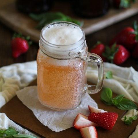 Strawberry Basil Homemade Kombucha