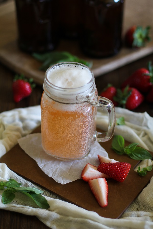 Strawberry Basil Homemade Kombucha