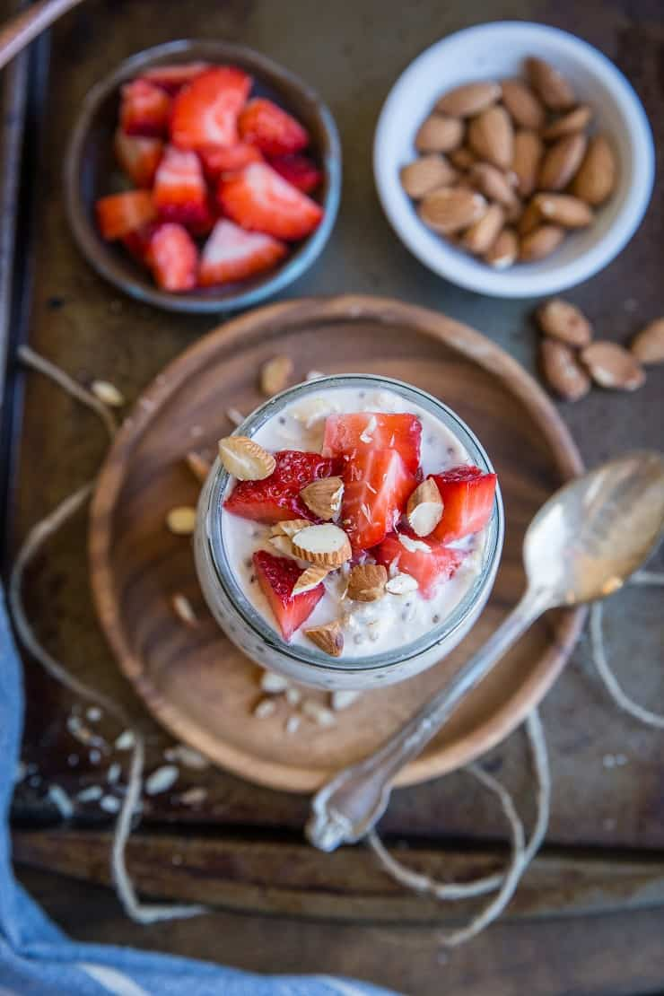 Strawberry Overnight Oats with chia seeds and walnuts - dairy-free, gluten-free, refined sugar-free, and healthy for breakfast or snack!