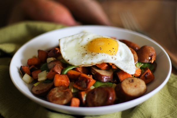 Sweet Potato and Leek Hash with Andouille Sausage