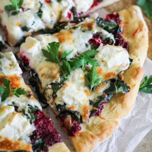 Beet Pesto Pizza with Kale and Goat Cheese - a healthier pizza recipe with gluten-free crust for a nutritious dinner