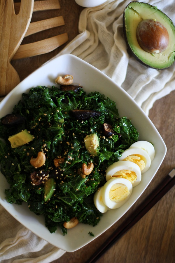 Blanched Kale Salad with Sesame Dressing with Figs and Avocado