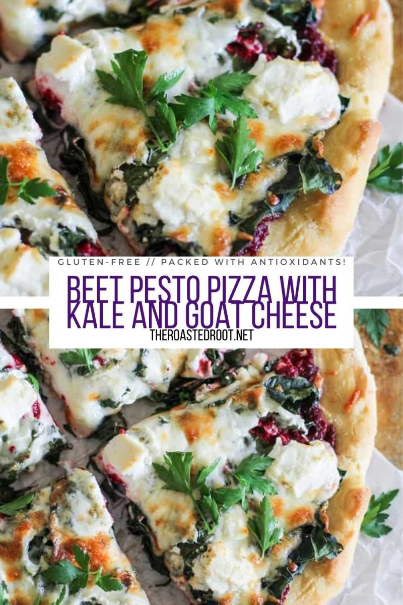 Gluten-Free Beet Pesto Pizza with Goat Cheese and Kale! A healthy superfood pizza recipe packed with antioxidants
