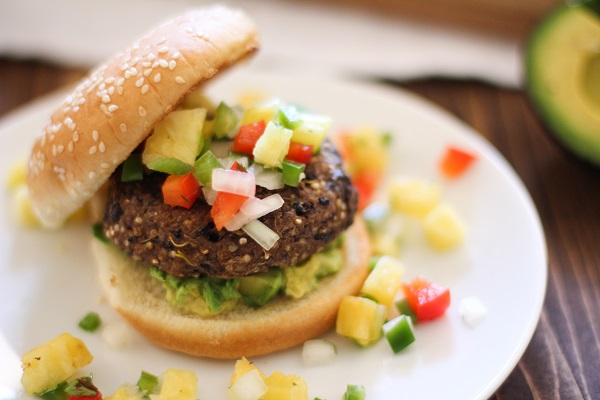 Sprouted Quinoa Black Bean Burger with Pineapple Salsa