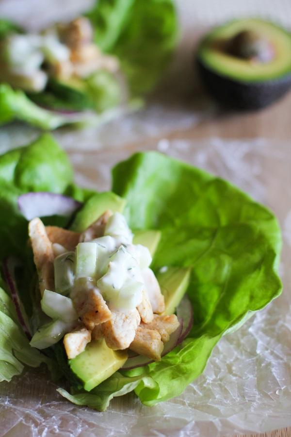 Chicken Tzatziki Lettuce Wraps
