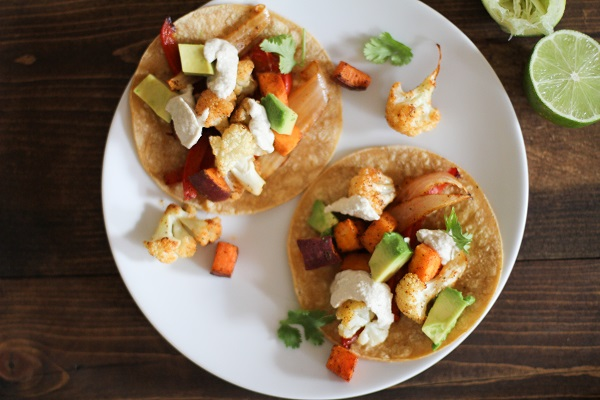 Roasted Vegetable Tacos with Cumin Cashew Cream