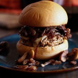 Caramelized Shallot and Mushroom Turkey Burgers