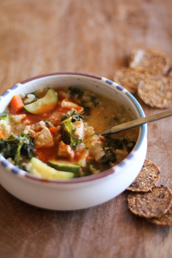 Hearty Chicken Soup with Rice and Kale