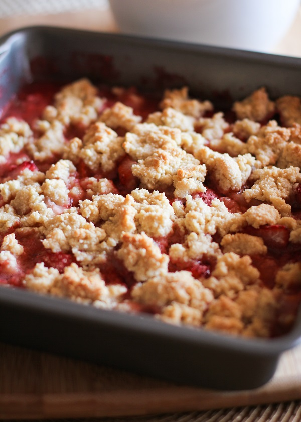 Paleo Strawberry Crumble - grain-free, refined sugar-free, and healthy! | TheRoastedRoot.net #dessert #glutenfree