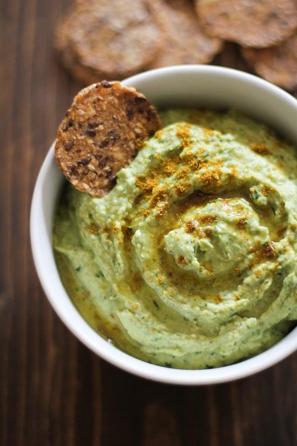 Roasted Garlic Kale Hummus - a recipe from Julia Mueller's cookbook, Let Them Eat Kale!
