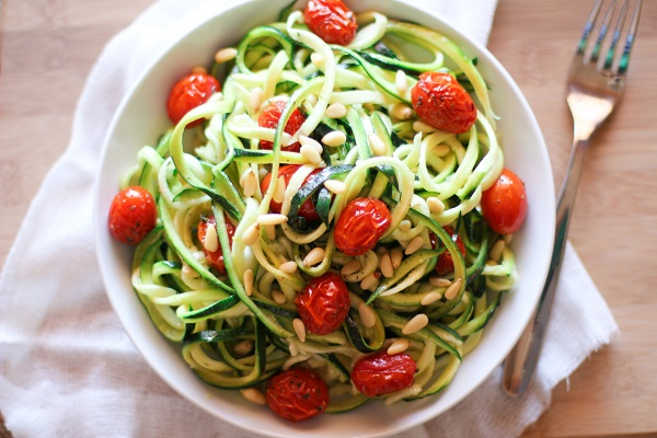 Zucchini Noodles with Roasted Tomatoes and Lemon-Garlic Sauce