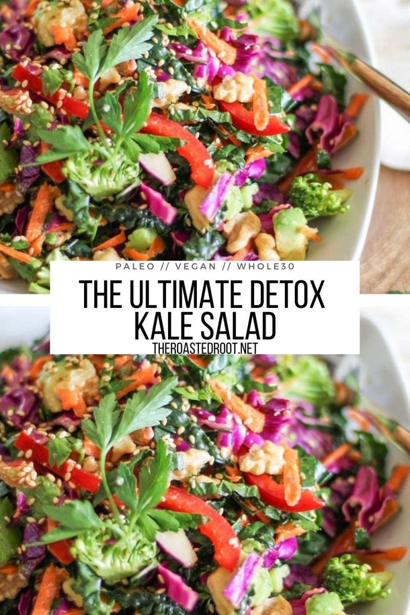 The Ultimate Detox Salad with kale, broccoli, carrots, cabbage, bell pepper, walnuts and avocado and a homemade parsley dressing
