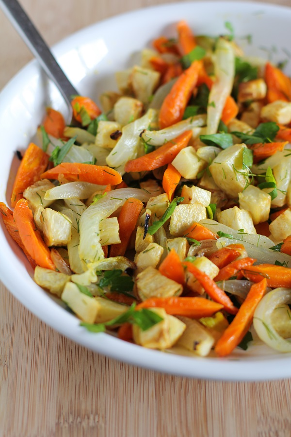 Roasted Celery Root and Carrots with Parsley and Dill