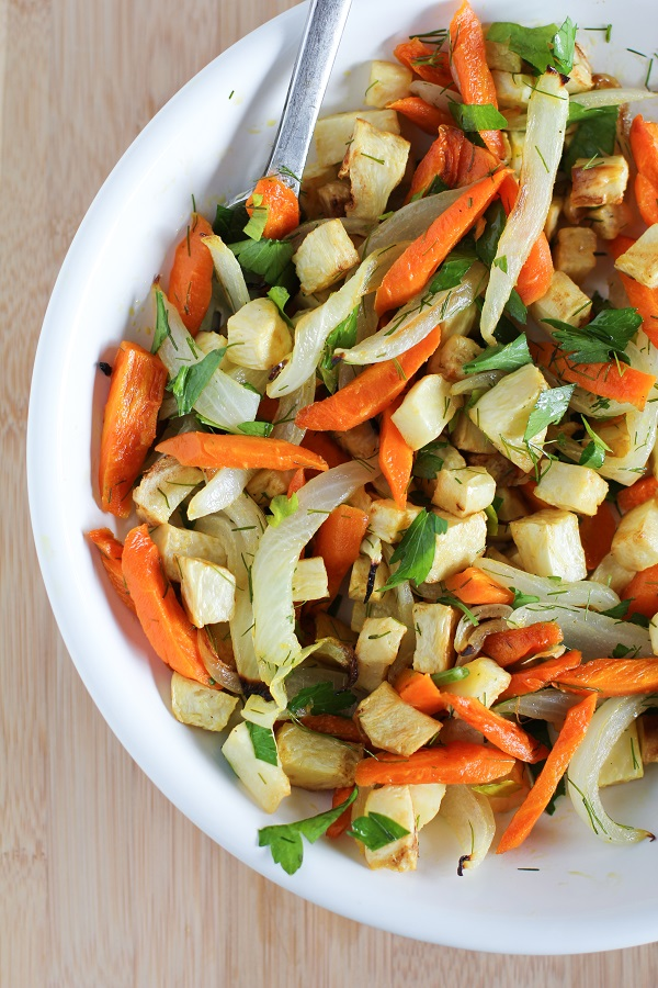 Roasted Celery Root and Carrots with Parsley, Dill, and Lemon