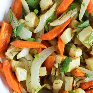 Roasted Celery Root and Carrots with Lemon, Parsley, and Dill