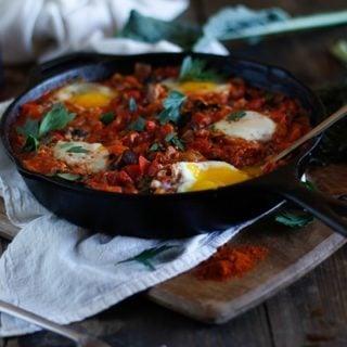 Shakshouka with Kale and Mushrooms