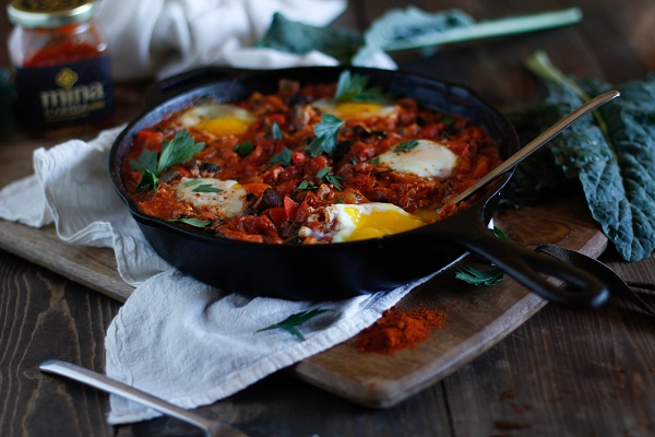 Shakshouka with Kale and Mushrooms