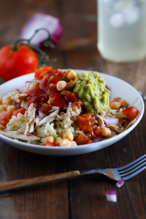 Shredded Chicken Cauliflower Rice Burrito Bowls