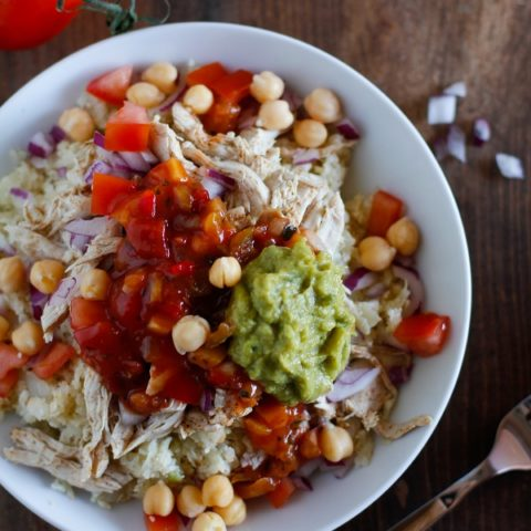 Shredded Chicken Burrito Bowls   Back to School with @sabradippingco