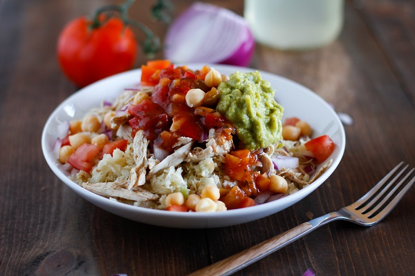 Shredded Chicken Cauliflower Rice Burrito Bowls