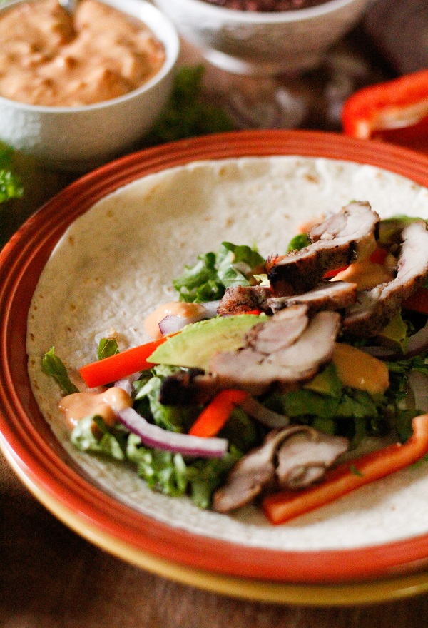 Southwest Grilled Tequila Chicken Wraps with refried black beans and salsa con queso @PacificFoods