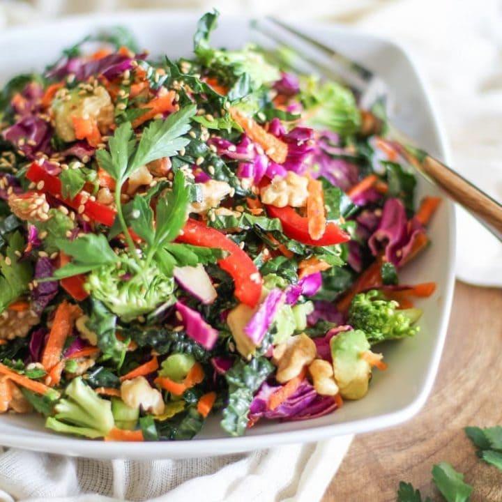 The Ultimate Detox Salad with lemon ginger dressing is a healthful, nutrient dense light meal or side dish!