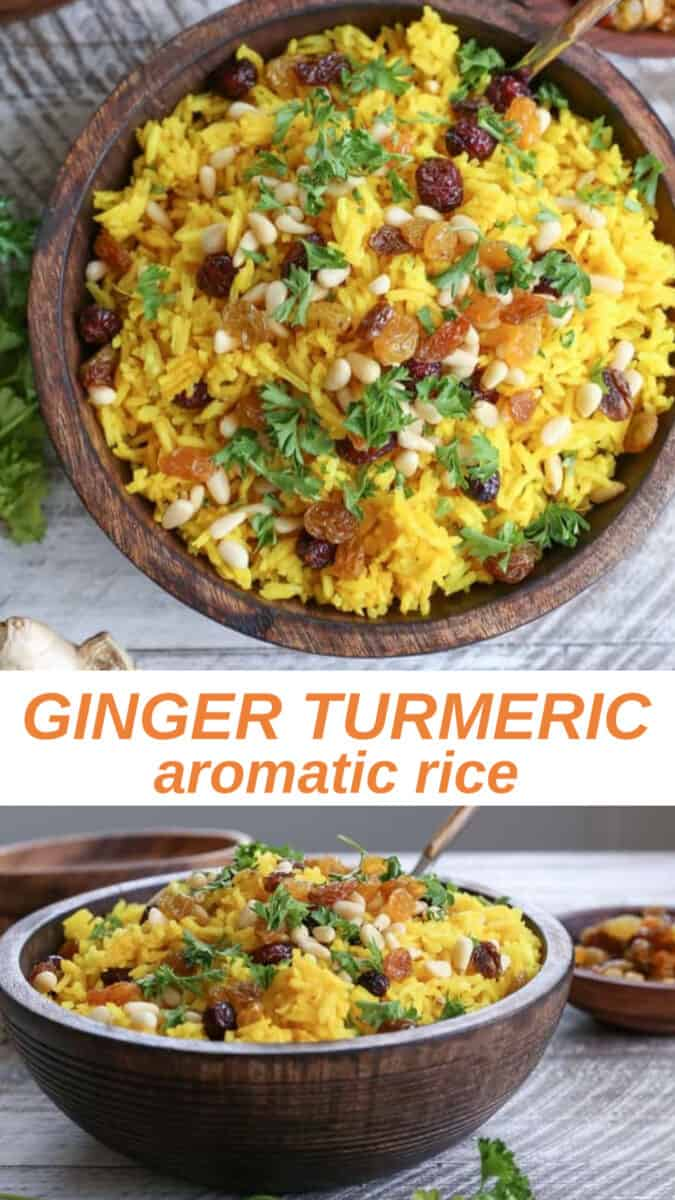 Ginger turmeric basmati aromatic rice – a unique and delicious Middle Eastern side dish perfect for pairing with your favorite entrees.