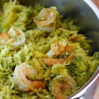 Spaghetti Squash with Basil-Parsley Pesto and Sautéed Shrimp