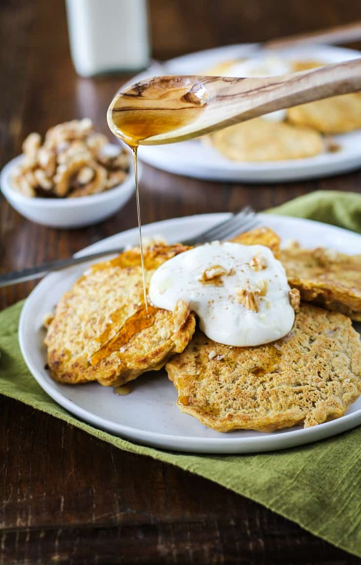 Gluten-Free Butternut Squash Pancakes - a delicious, healthy pancake recipe from TheRoastedRoot.net