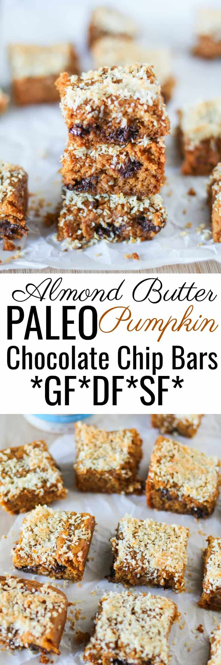 Paleo Pumpkin Bars - grain-free, refined sugar-free, dairy-free and made with almond butter!