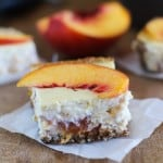 Peach Almond Yogurt Cheesecake Bars with gluten free almond crust | naturally sweetened and healthy! @noosayoghurt