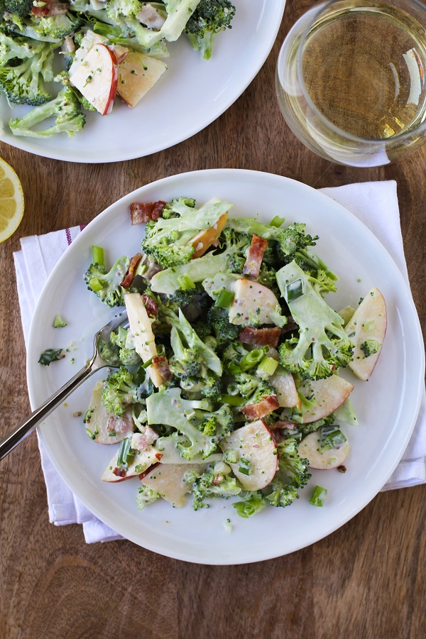 Shaved Broccoli-Apple Salad with Bacon