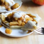 Cheddar Cheese Crepes with Spiced Apples and Salted Caramel | gluten free and naturally sweetened