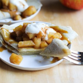 White Cheddar and Spiced Apple Crepes with Salted Caramel