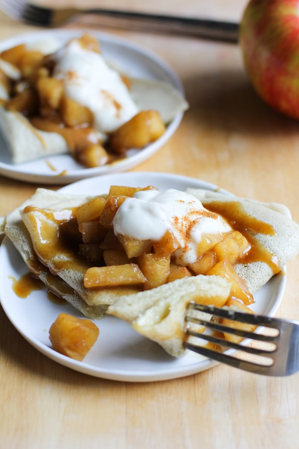 Cheddar Cheese Crepes with Spiced Apples and Salted Caramel   gluten free and naturally sweetened