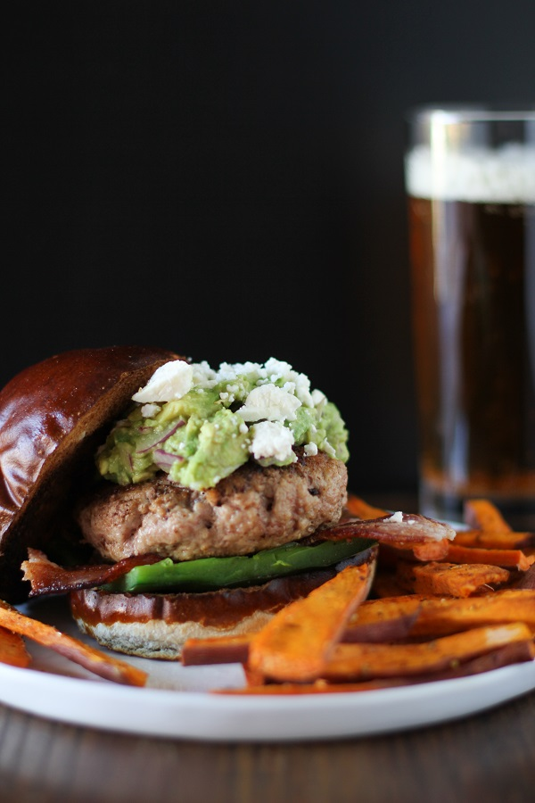 Guacamole Bacon Turkey Burgers with Roasted Poblano Peppers and Queso Fresco