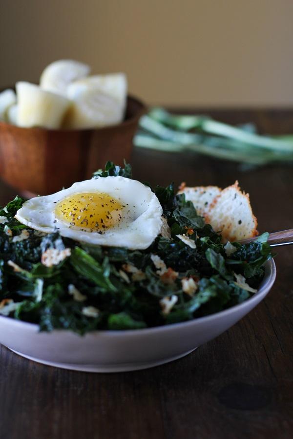 Lemony Kale Salad with Parmesan Crisps and Sunny Side up Egg