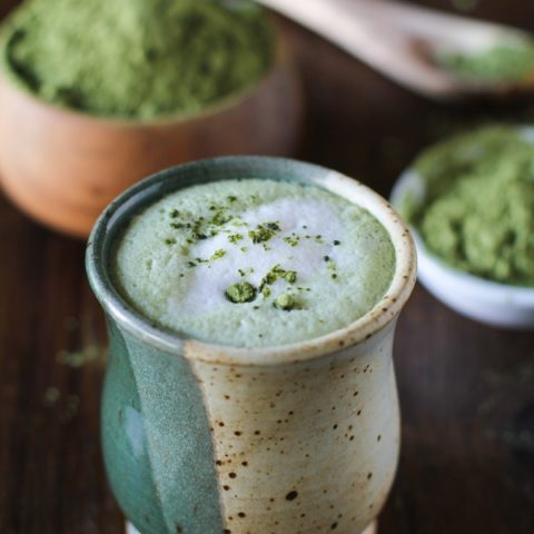 Matcha Green Tea Latte | dairy-free and naturally sweetened #vegan