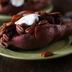 Stuffed Sweet Potatoes with Bourbon Maple Candied Pecans and Cranberries