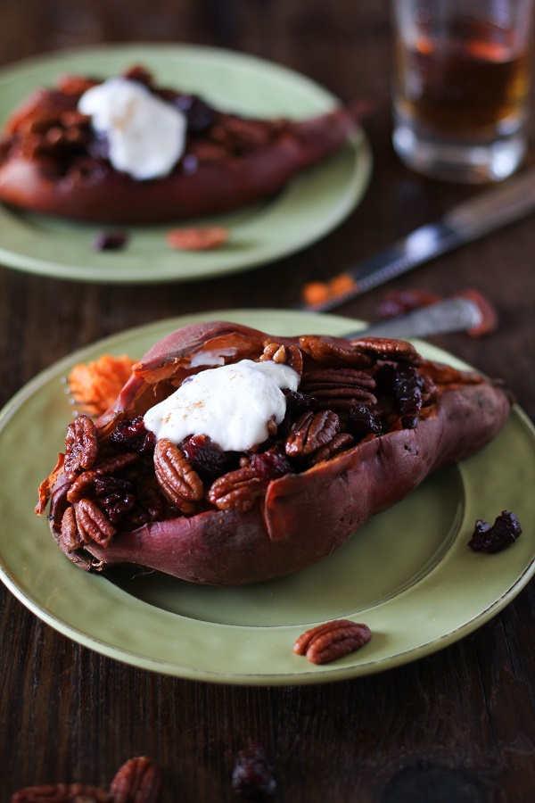 Stuffed Sweet Potatoes with Bourbon Maple Candied Pecans and Cranberries | a simple and delicious holiday side dish! #Thanksgiving