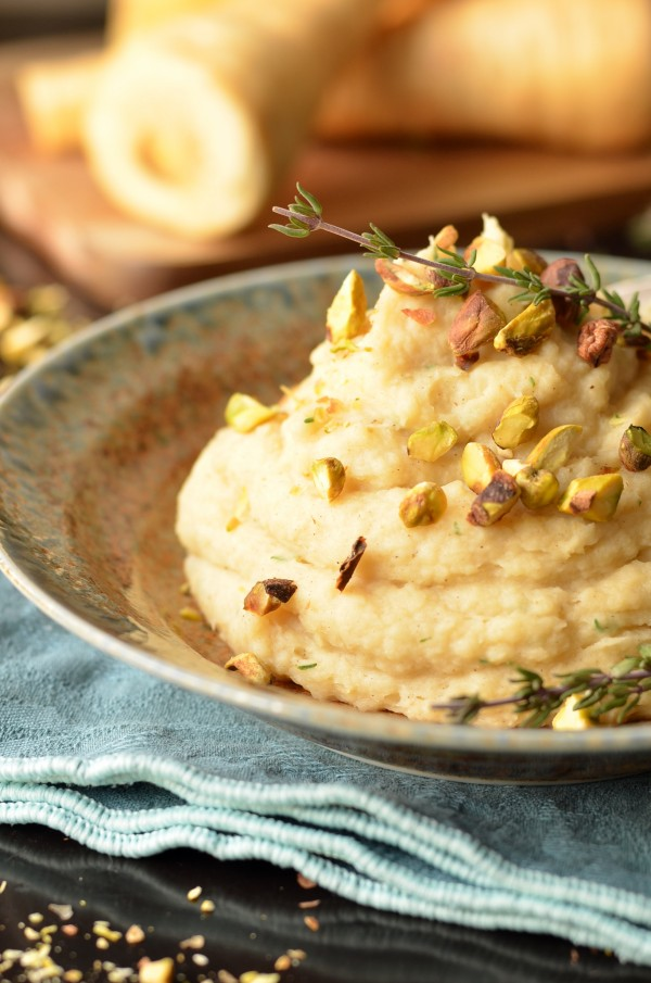 Browned Butter Mashed Parsnips with Corriander and Thyme