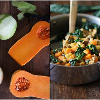 Butternut Squash Hash with Apples, Sausage and Kale