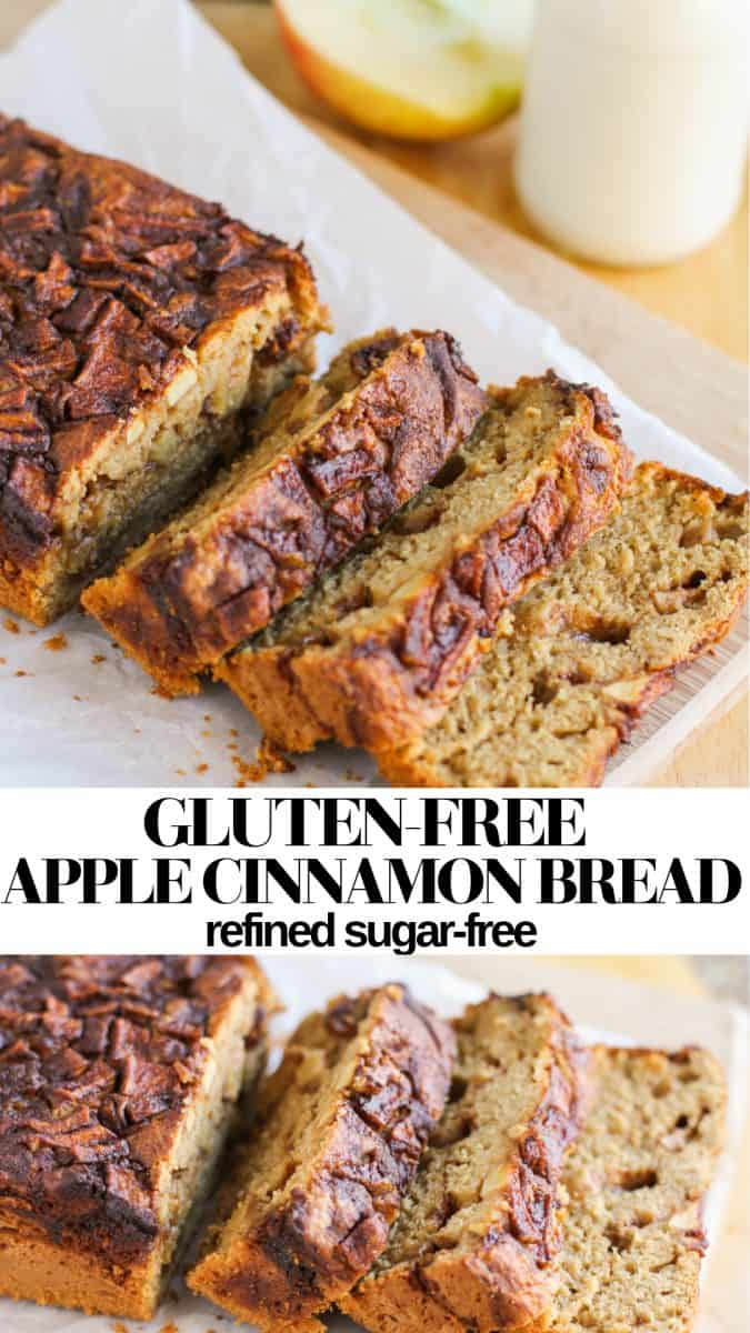 Gluten-Free Healthy Apple Cinnamon Bread made refined sugar-free. Recipe is moist, fluffy and magically delicious with a secret ingredient!