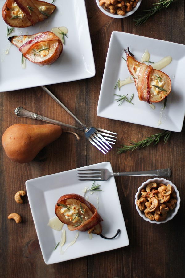 Bacon Wrapped Roasted Pears with Goat Cheese and Honey @roastedroot #appetizer #thanksgiving