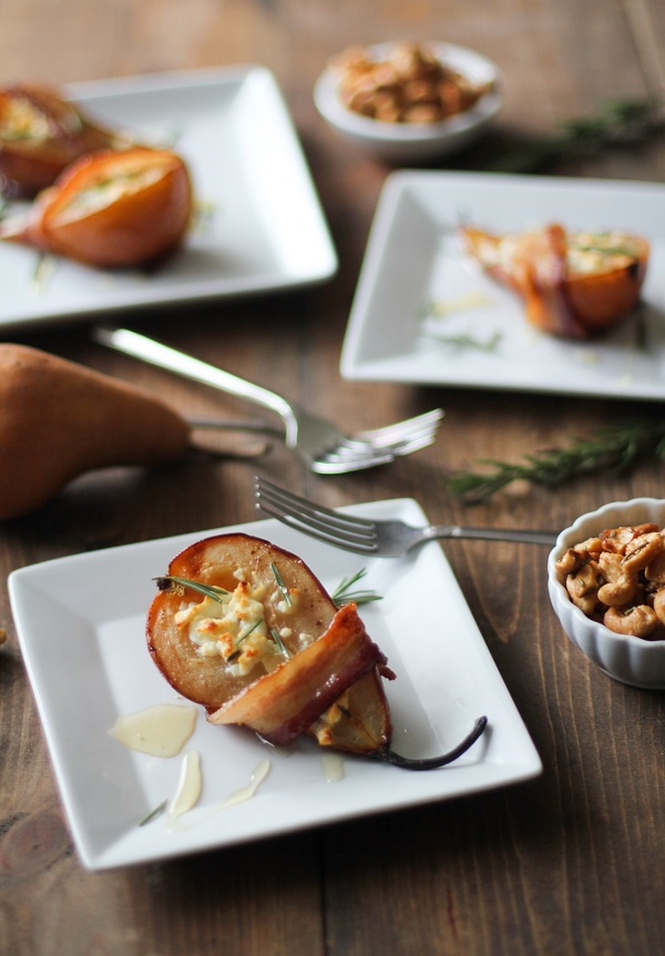 Bacon-Wrapped Roasted Pears with Goat Cheese and Honey | Photo Courtesy of The Roasted Root