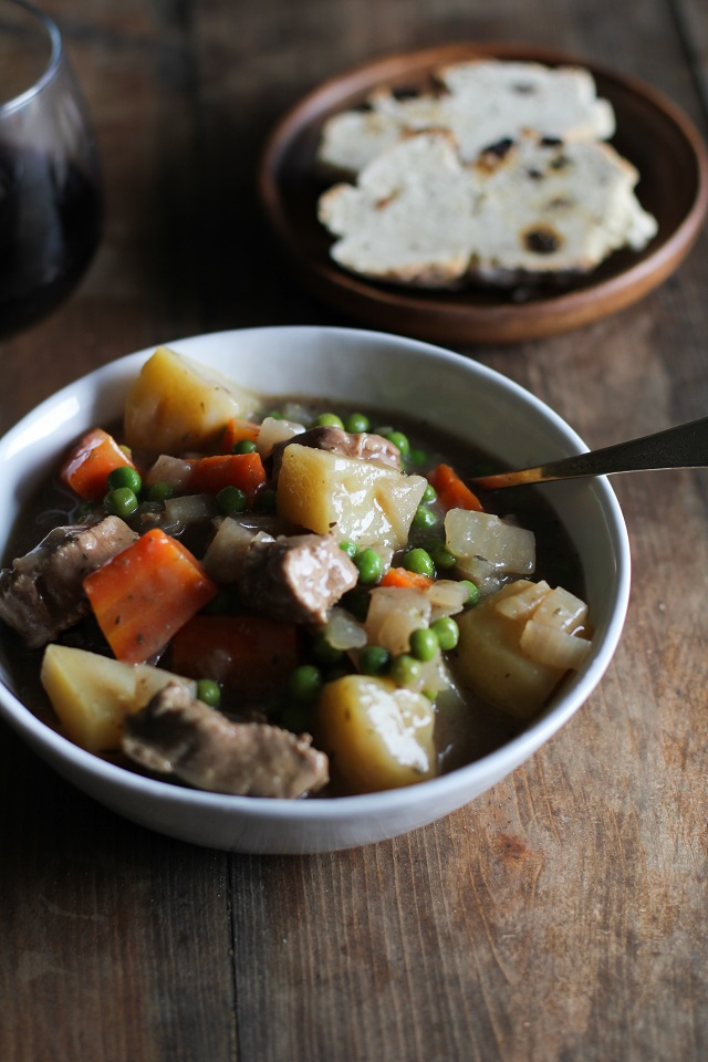 Beef and Root Vegetable Stew with red wine