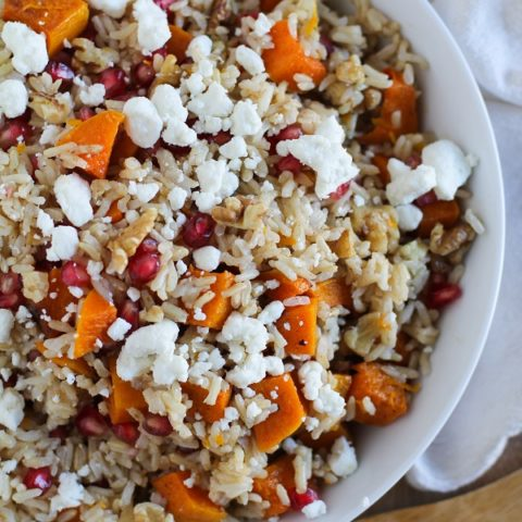 Brown Rice with Butternut Squash, Pomegranate Seeds, and Goat Cheese with Citrus Dressing